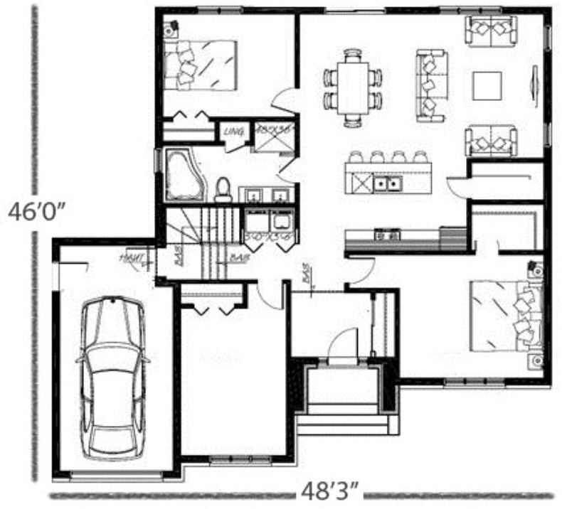 Plan Napoléon 3 chambres